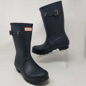Hunter Original Short Waterproof Boots Blue Matte
